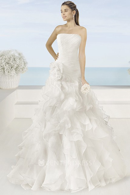 067f6a83e1a9b A-Line Long Ruched Sleeveless Strapless Organza Wedding Dress With Flower  And Cascading Ruffles - UCenter Dress