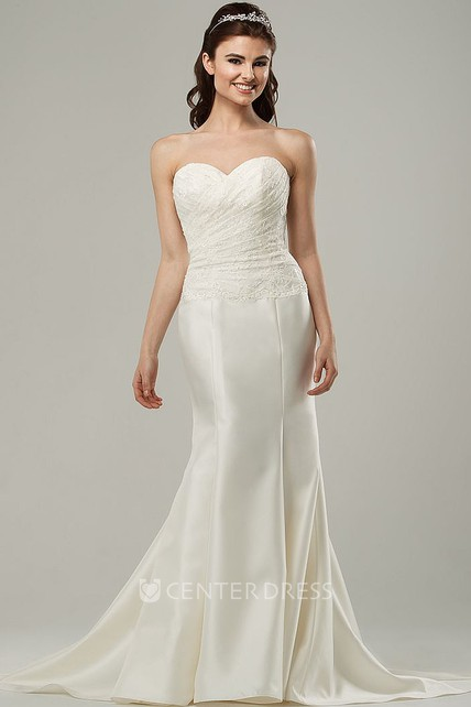 56aa3e1d7f Sweetheart Long Side-Draped Satin Wedding Dress With Sweep Train And Corset  Back - UCenter Dress