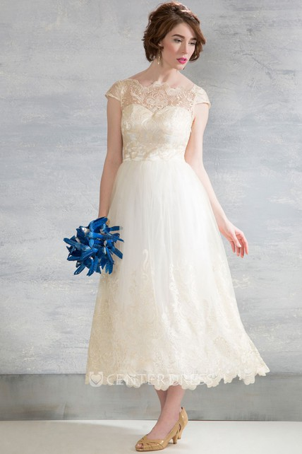 25e319ddc Tea-Length Bateau Neck Cap Sleeve Appliqued Tulle Wedding Dress - UCenter  Dress