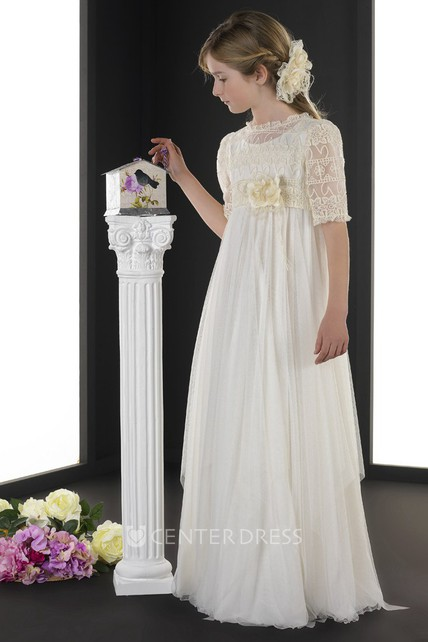 b1f11d411 A-Line Half-Sleeve Floor-Length Jewel-Neck Floral Tulle Flower Girl Dress  With Lace And Pleats - UCenter Dress