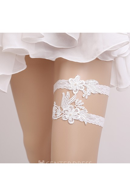 Fresh Flower White Lace Two Piece Elastic Garter Within 16-23inch
