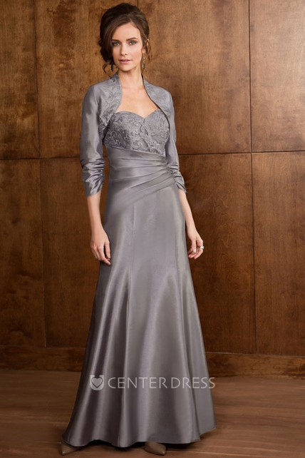 3-4 Sleeved Long Mother Of The Bride Dress With Matching Jacket And Appliques