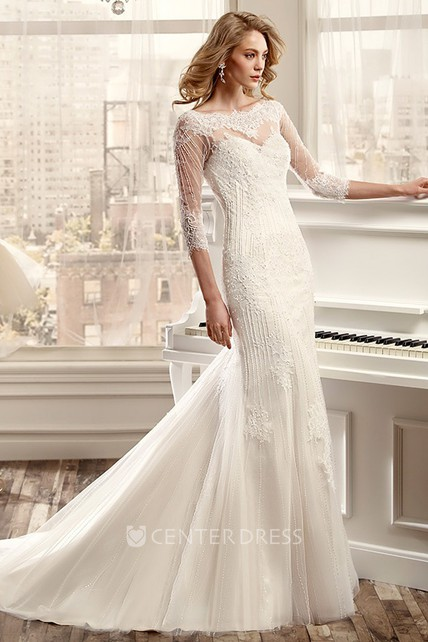 e8922bc83b0 Sheath Beaded Bateau Long 3-4-Sleeve Tulle Wedding Dress With Appliques And  Illusion Back - UCenter Dress