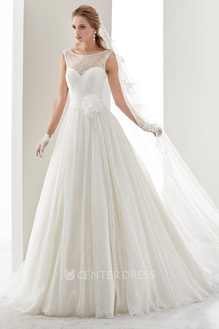 ac97a6f56aba Cap sleeve Illusion Draping Gown with Flower Waist and Jewel Neck - UCenter  Dress