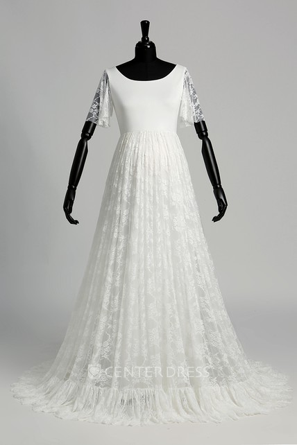 9bd1b4184fa57 Satin Lace A-line Scoop Illusion Short Sleeve Maternity Wedding Dress with  Pleats - UCenter Dress