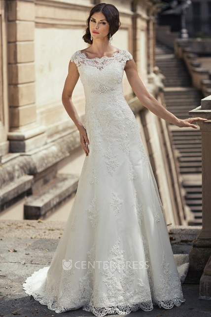 065adf3a570d Sheath Cap-Sleeve Long Appliqued Bateau-Neck Lace Wedding Dress With Waist  Jewellery - UCenter Dress