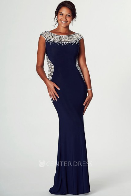 Pencil Beaded Cap-Sleeve Bateau Midi Jersey Prom Dress With Zipper Back And Brush Train
