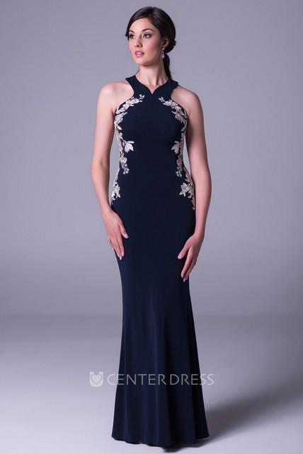 0ffa37b4a78 Sheath Maxi Sleeveless Appliqued Jersey Prom Dress - UCenter Dress