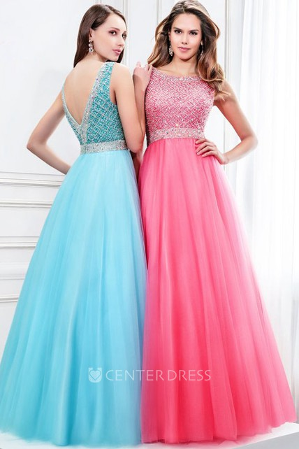 A-Line Sleeveless Scoop Neck Beaded Tulle Prom Dress