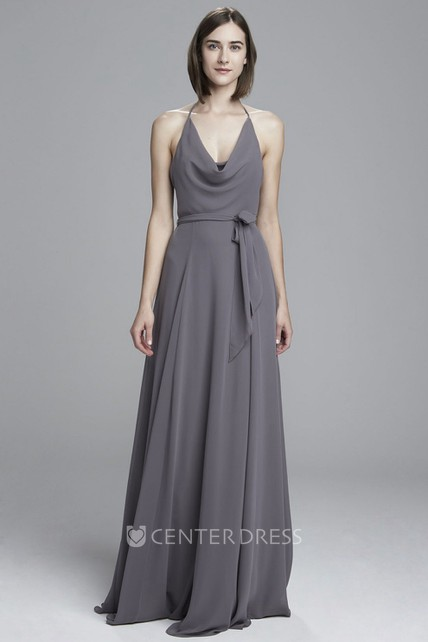 8f5aa66ddd9 A-Line Pleated Cowl-Neck Sleeveless Floor-Length Chiffon Bridesmaid Dress - UCenter  Dress