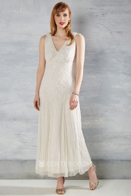 Sheath Sleeveless V-Neck Ankle-Length Lace Wedding Dress With Appliques And V Back