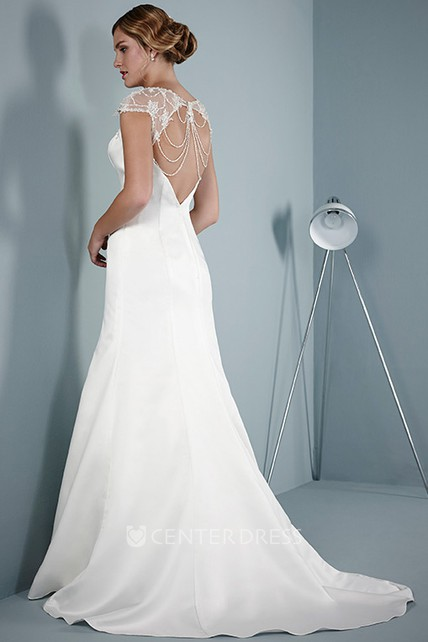 A-Line Cap Sleeve Scoop Neck Beaded Satin Wedding Dress