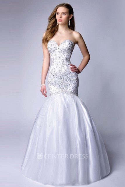8248f7cd86f82 Lace-Up Back Mermaid Sweetheart Homecoming Dress With Bodice Beadwork -  UCenter Dress