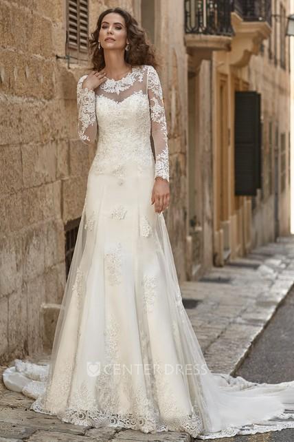02d2e8748d09 A-Line Appliqued Scoop-Neck Floor-Length Long-Sleeve Lace Wedding Dress - UCenter  Dress