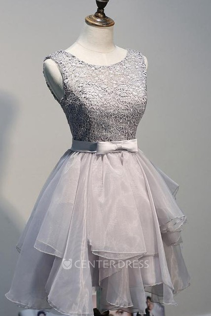 Short Chiffon Homecoming Dresses With Lace