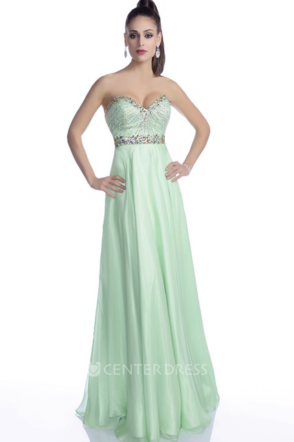 Sweetheart A-Line Sleeveless Chiffon Prom Dress Featuring Glimmering Rhinestones And Jeweled Belt