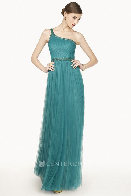 8fcedb89dc7 Single Strap A-Line Tulle Long Prom Dress With Beaded Neckline And Waist -  UCenter Dress