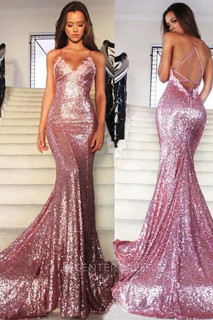 cb6d296e23 Glamorous Sequins V-Neck Prom Dresses 2018 Mermaid Spaghetti Straps Party  Gowns - UCenter Dress