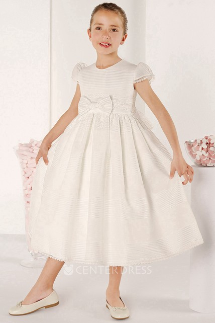 888a8185eb704 A-Line Bowed Tea-Length Puff-Sleeve Scoop-Neck Flower Girl Dress With  Pleats - UCenter Dress