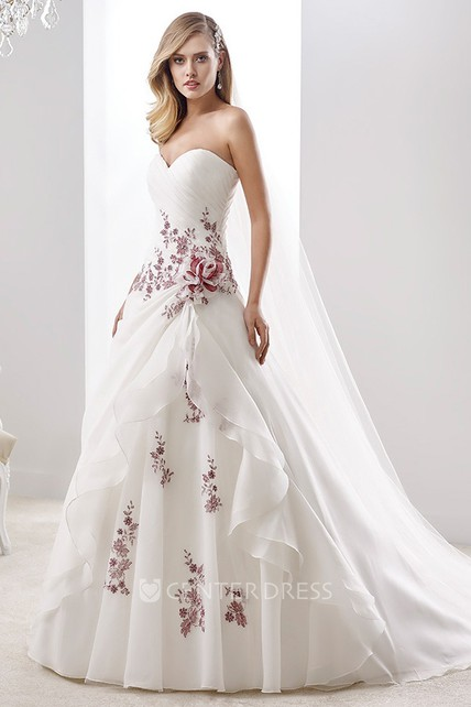 Sweetheart Pleated A Line Floral Wedding Dress With Lace Up Back And