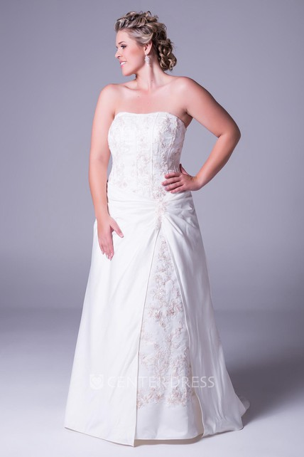 7f7f6ef9c10 Strapless Floor-Length Taffeta Plus Size Wedding Dress With Embroidery And  Corset Back - UCenter Dress