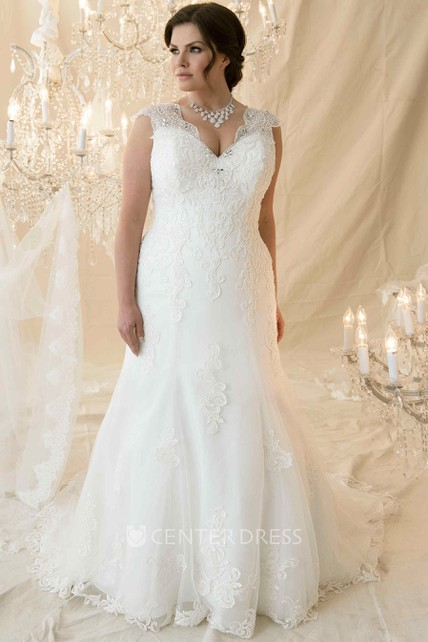 e62c7a5323 Trumpet Long Cap-Sleeve Beaded V-Neck Lace Plus Size Wedding Dress With  Appliques And Corset Back - UCenter Dress