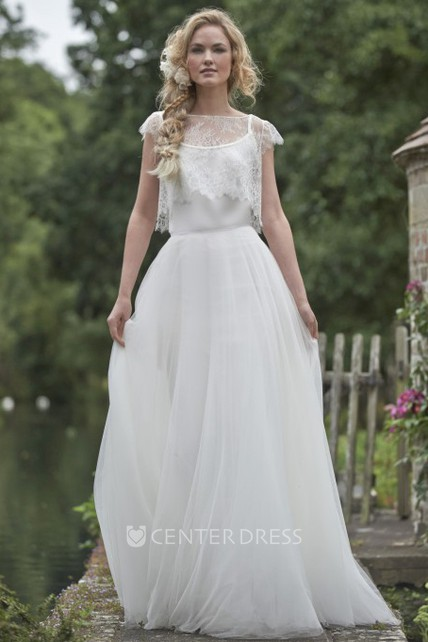 Jewel Floor-Length Cap-Sleeve Lace Tulle Wedding Dress With Illusion