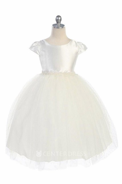 Tea-Length Cap-Sleeve Beaded Tulle&Satin Flower Girl Dress