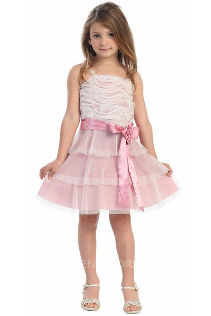 Knee-Length Floral Tiered Flower Girl Dress With Embroidery