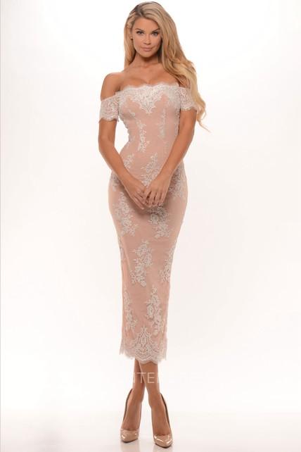 Pencil Tea-Length Appliqued Off-The-Shoulder Prom Dress With Split Back - UCenter  Dress 816176565