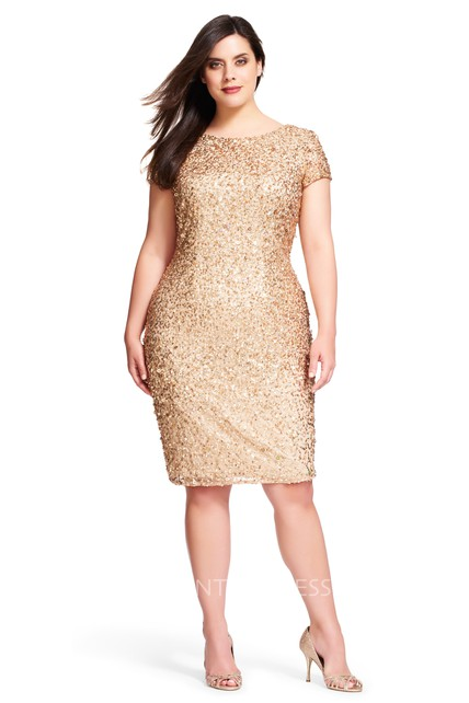 d1c7e7ed Mermaid Mini Scoop Neck Short Sleeve Sequin Plus Size Bridesmaid Dress -  UCenter Dress