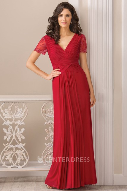 Short-Sleeved V-Neck Long Mother Of The Bride Dress With Pleats And Beadings