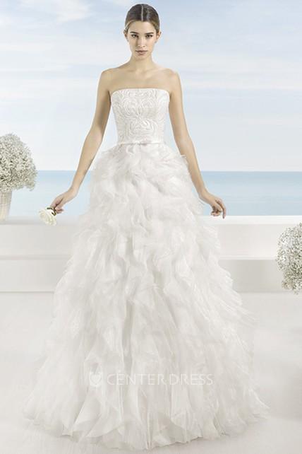 A-Line Sleeveless Cascading-Ruffle Long Strapless Tulle Wedding ...
