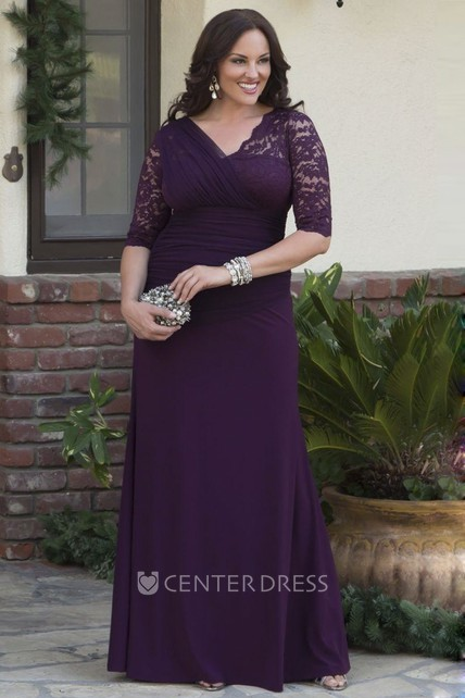 Lace And Tulle Tiered Appliqued V-neck Jersey 3/4 Sleeve Sheath Gown