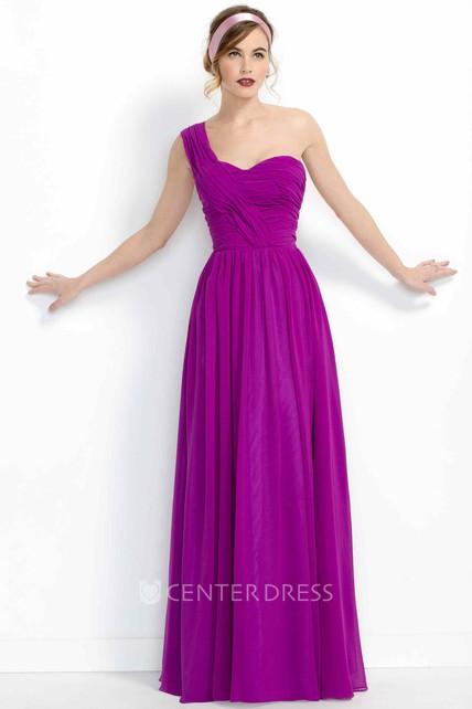 f1d6d861eda2 A-Line Sleeveless Floor-Length One-Shoulder Ruched Chiffon Bridesmaid Dress  - UCenter Dress