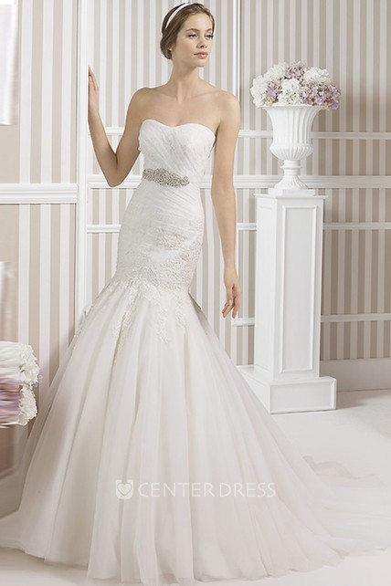 f36251423a Trumpet Appliqued Floor-Length Strapless Tulle Wedding Dress With Ruching  And Waist Jewellery - UCenter Dress