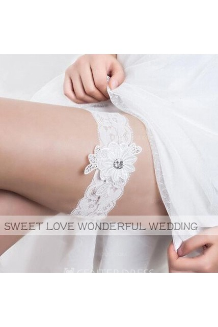 Western Style Fresh Flowers Applique Stretch Bride Lace Garter Within 16-23inch