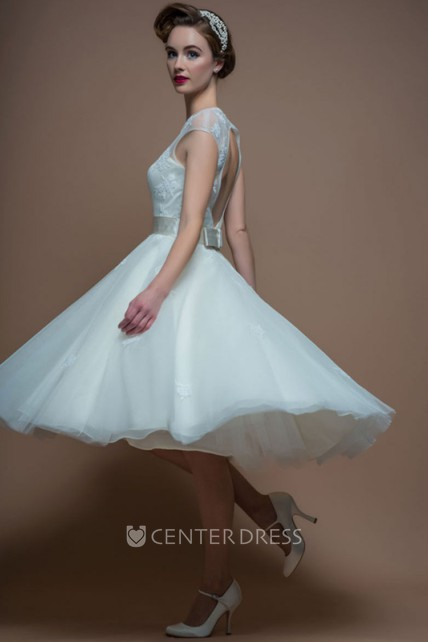 A-Line Scoop-Neck Sleeveless Tea-Length Organza Wedding Dress With Appliques And Keyhole