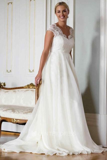 a9ca5b90888b A-Line V-Neck Cap-Sleeve Lace&Chiffon Wedding Dress With Illusion - UCenter  Dress