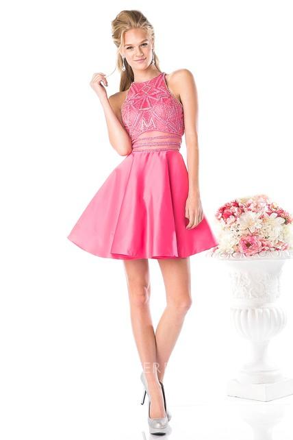 d268cf6401d2 A-Line Floor-Length Jewel-Neck Sleeveless Satin Keyhole Dress With Beading  - UCenter Dress