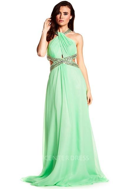 584ef7b7090 Halter Sleeveless Beaded Chiffon Prom Dress With Brush Train - UCenter Dress