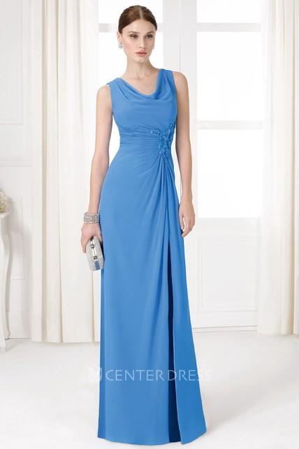 Sheath Sleeveless Draped Cowl Neck Long Jersey Prom Dress With