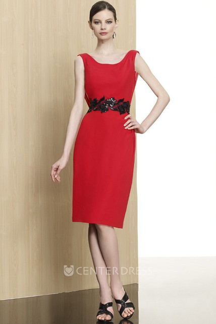 Mini Pencil Appliqued Scoop Neck Sleeveless Jersey Formal Dress