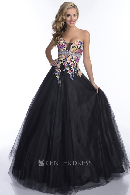 46f67c1f7cd Sweetheart Sleeveless Tulle Prom Dress With Lace Appliques And Beaded  Waistline - UCenter Dress