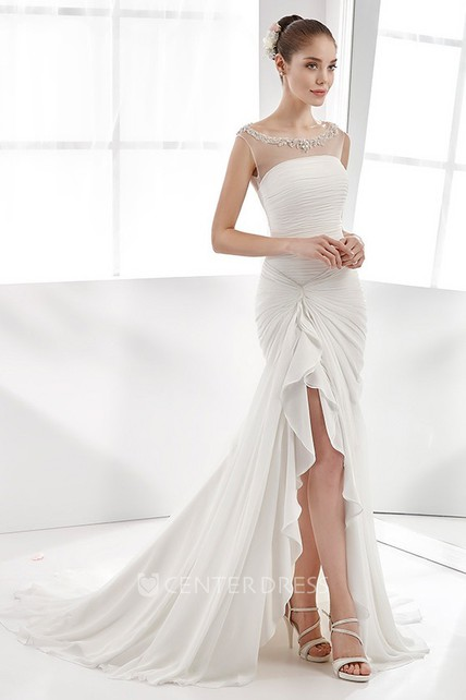 Cap-Sleeve High-Low Pleating Chiffon Wedding Dress With Beaded Neckline And Side Bandage