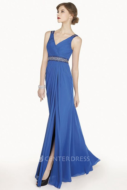 Crystal Waist Chiffon Long Prom Dress With Split And Bootlace Back