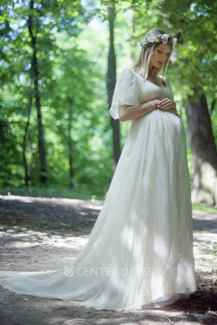 a43e9a4d9e9e2 A-Line Court Train Short Sleeve Empire Maternity Wedding Dress - UCenter  Dress