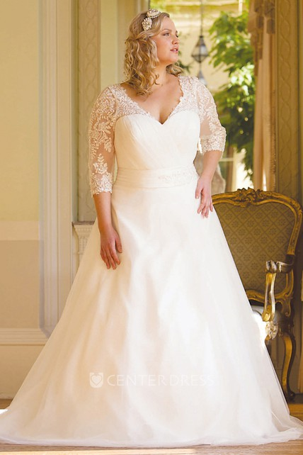 A Line 3 4 Sleeve V Neck Tulle Plus Size Wedding Dress Ucenter Dress