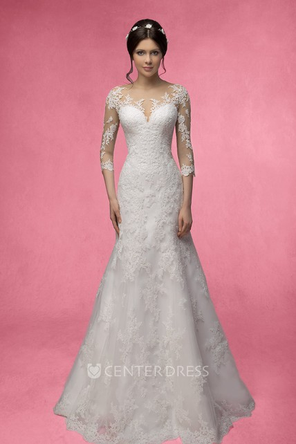 69c0faf0dc1 Mermaid Long 3-4-Sleeve Illusion Lace Dress With Appliques - UCenter Dress