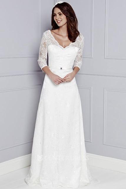 Lace Wedding Dress 3/4 Sleeve